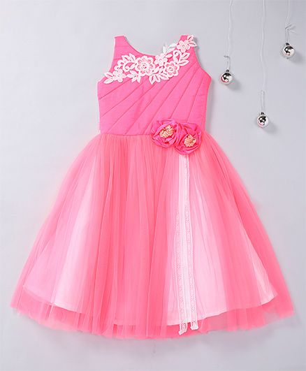 Aarika Pleated Party Wear Gown With Flower Applique - Hot Pink