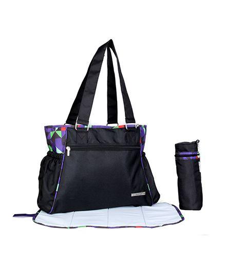 My Milestones Diaper Bag Spectra Geometric Design - Black