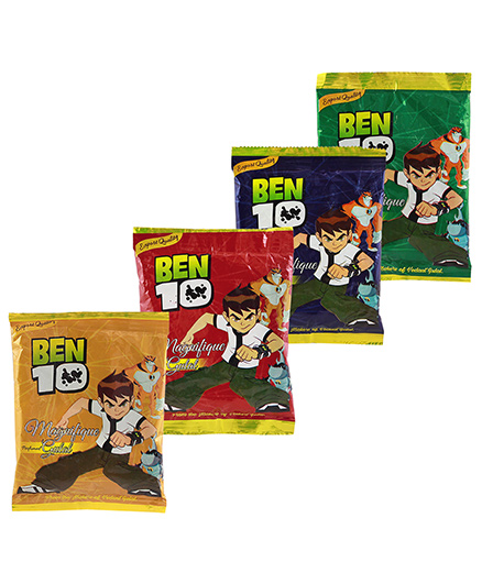 Ben 10 Holi Herbal Gulal Pack Of 4 - Multi Color (Colors May Vary)