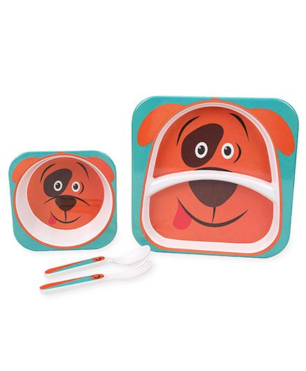 Cello Melmoware Dish Set Kids Hop In The Zoo Lady Dog - Blue And Orange