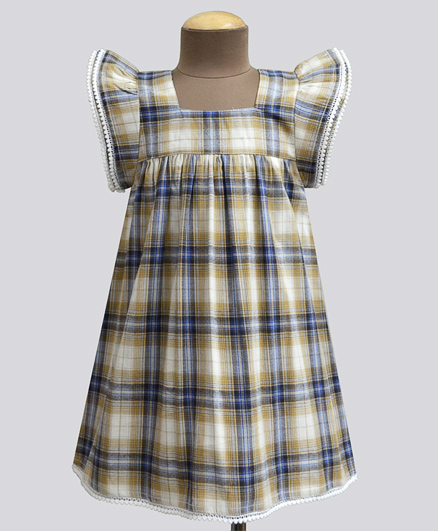 A.T.U.N Honeycomb Tartan Plaid Angel Sleeve Dress - Beige & Navy