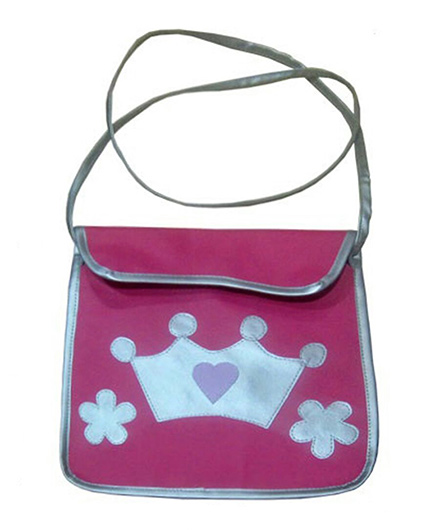 Kidzbash Sling Bag Princess Crown Print - Dark Pink