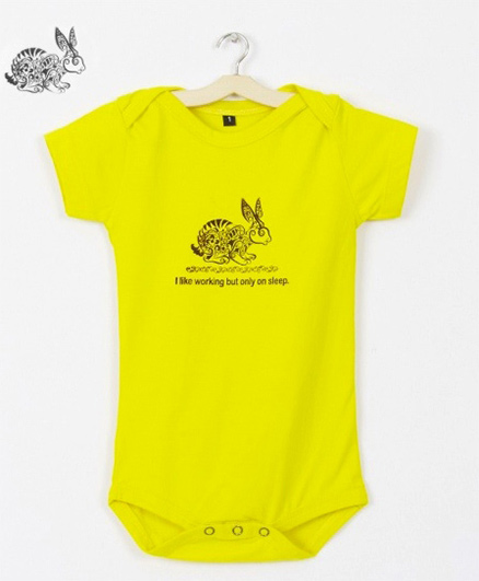 Milonee Rabbit Printed Organic Cotton Onesie - Yellow