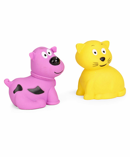 Giggles Animal Shaped Squeaky Bath Toys Pack of 2 - Purple Yellow