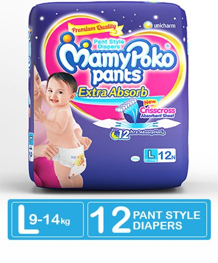 Mamy Poko Extra Absorb Pant Style Diapers Large - 12 Pieces