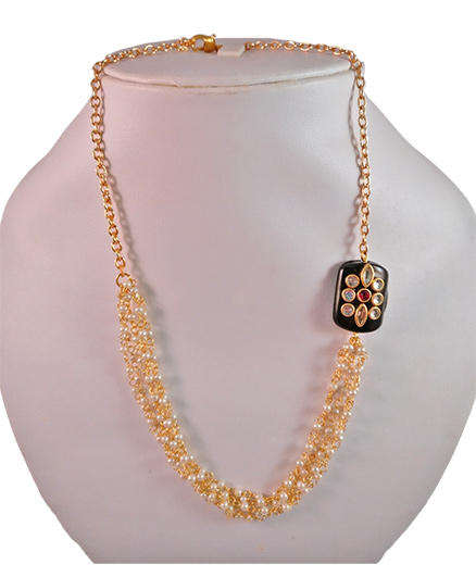 Tiny Closet Pearl Chain Necklace With Black Stone - Golden