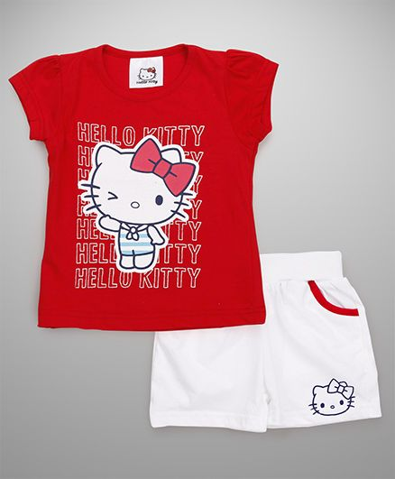 Hello Kitty by Babyhug Short Sleeves Tee With Shorts Printed - Red White