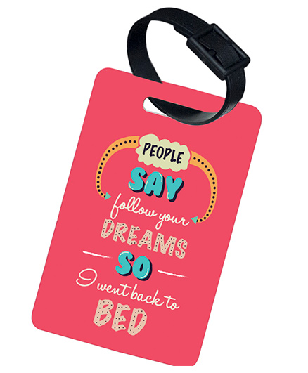 The Crazy Me Follow Your Dreams Printed Luggage Tag - Dark Pink