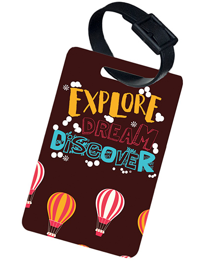 The Crazy Me Explore Dream Discover Printed Luggage Tag - Brown