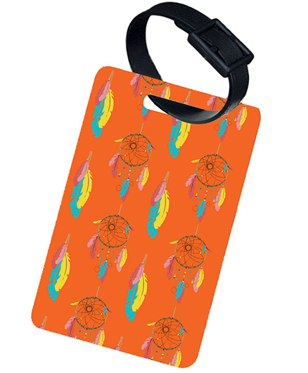 The Crazy Me Dream Catcher Printed Luggage Tag - Orange