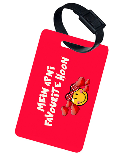 The Crazy Me Main Apni Favourite Hoon Printed Luggage Tag - Red