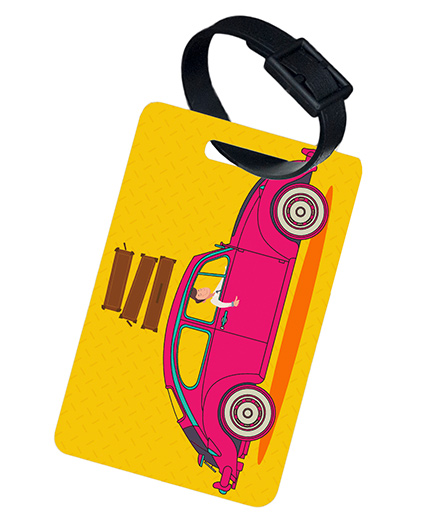 The Crazy Me Vintage Car Printed Luggage Tag - Yellow