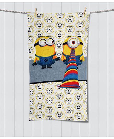 Spaces Minions Print Kids Cotton Bath Towel - Multi Color