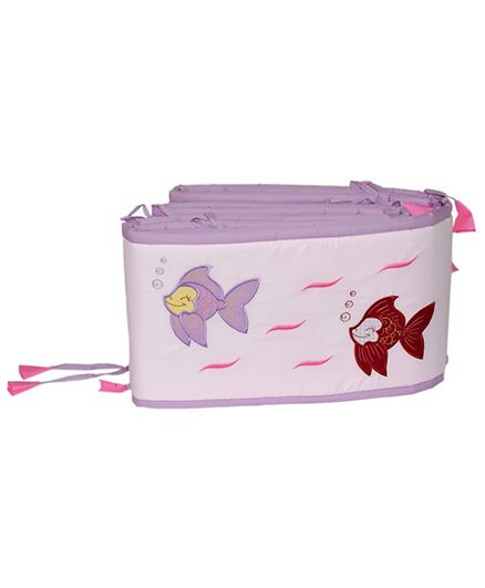 Blooming Buds Fish Theme Cot Side Cover Bumper - Pink