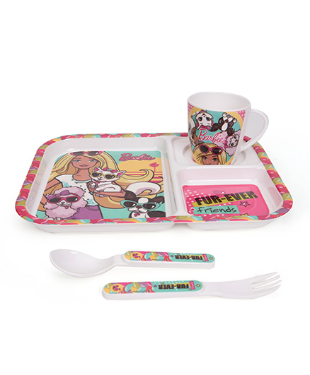 Cello Melmoware Barbie Kids Dish Set Pink - 4 Pieces