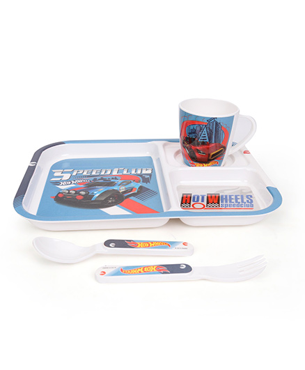 Cello Melmoware Hotwheels Kids Dish Set Blue - 4 Pieces