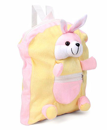 IR Bunny Plush School Bag Rabbit Design Pink Yellow - 11 Inches