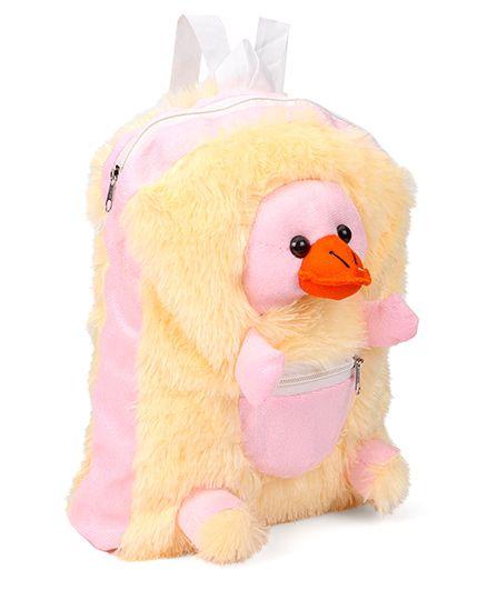 IR Duck Plush School Bag Cream Pink - 12 inch