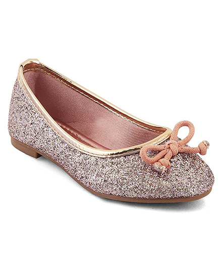 Kittens Shoes Glittery Ballerinas Bow Applique - Pink