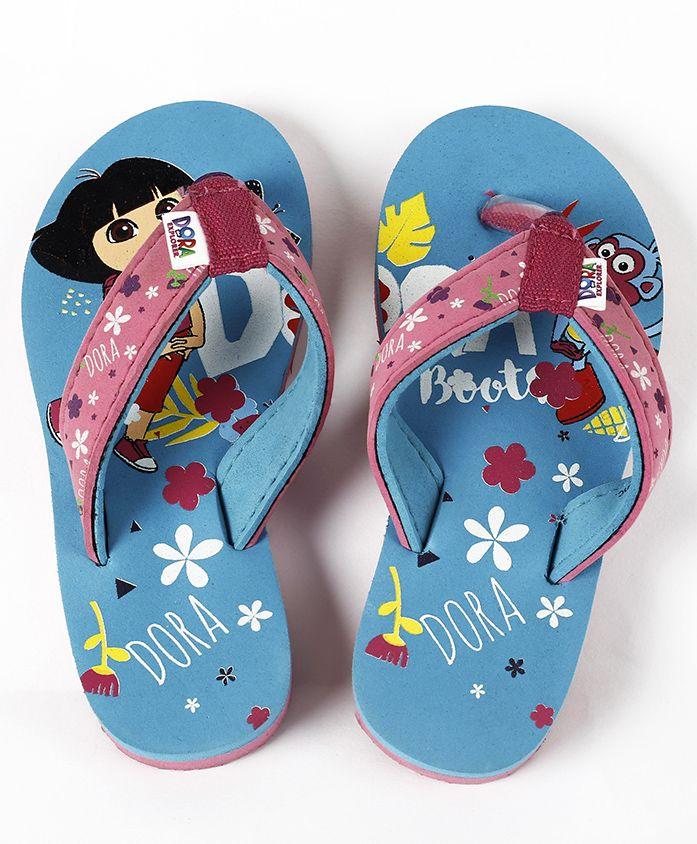 Dora Flip Flops With Back Strap - Sky Blue Pink