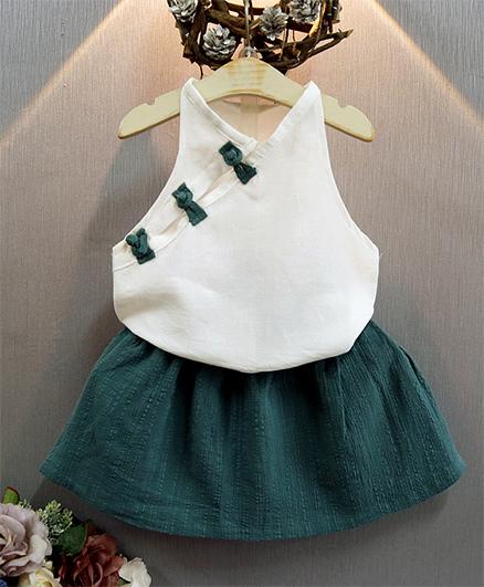 Awabox Deep Cut Sleeves Top With Skirt - White & Green