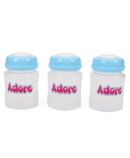 Adore Milk Storage Bottles Blue - 3 Pieces