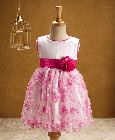 Babyhug Sleeveless Party Wear Frock With Flower Applique - White & Pink