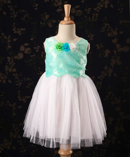 Babyhug Sleeveless Party Wear Frock Floral Applique - Sky Blue & Off White