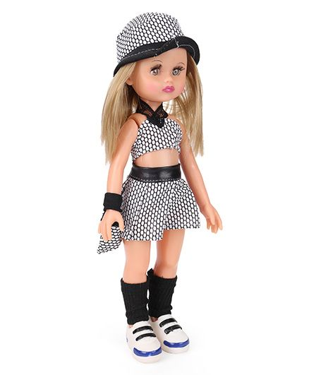 Speedage Ahnna Doll With Do Print Dress White & Black - Height 35 cm