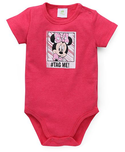 Fox Baby Half Sleeves Minnie Tag Me Print Onesie - Light Red