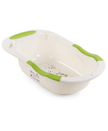 Baby Bath Tub Rabbit Print - Cream & Green