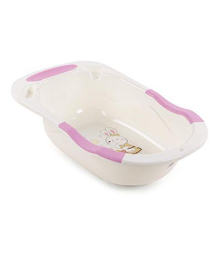 Baby Bath Tub Rabbit Print - Cream & Pink