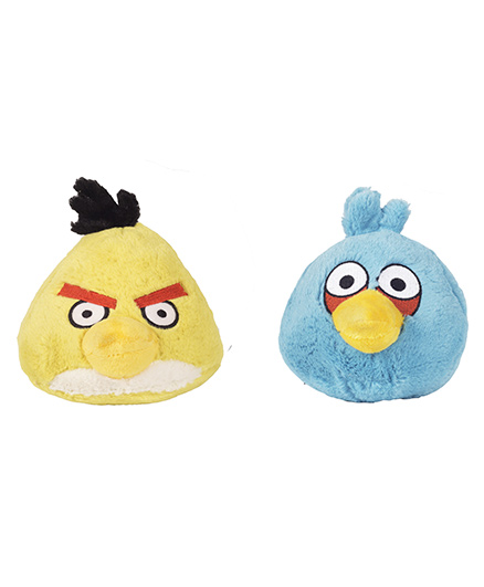 Angry Birds Soft Toys Pack Of 2 Yellow And Blue - 21 cm