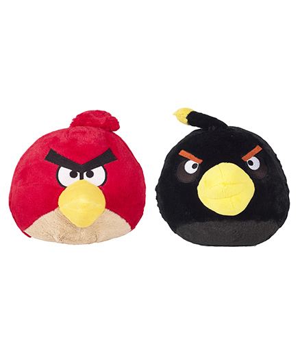 Angry Birds Soft Toys Pack Of 2 Red and Black - 20 cm
