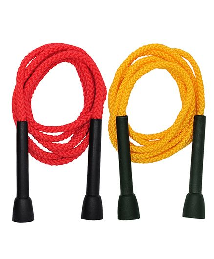 GSI Pair Of PP Skipping Ropes For Cardio And Fitness - Red And Yellow