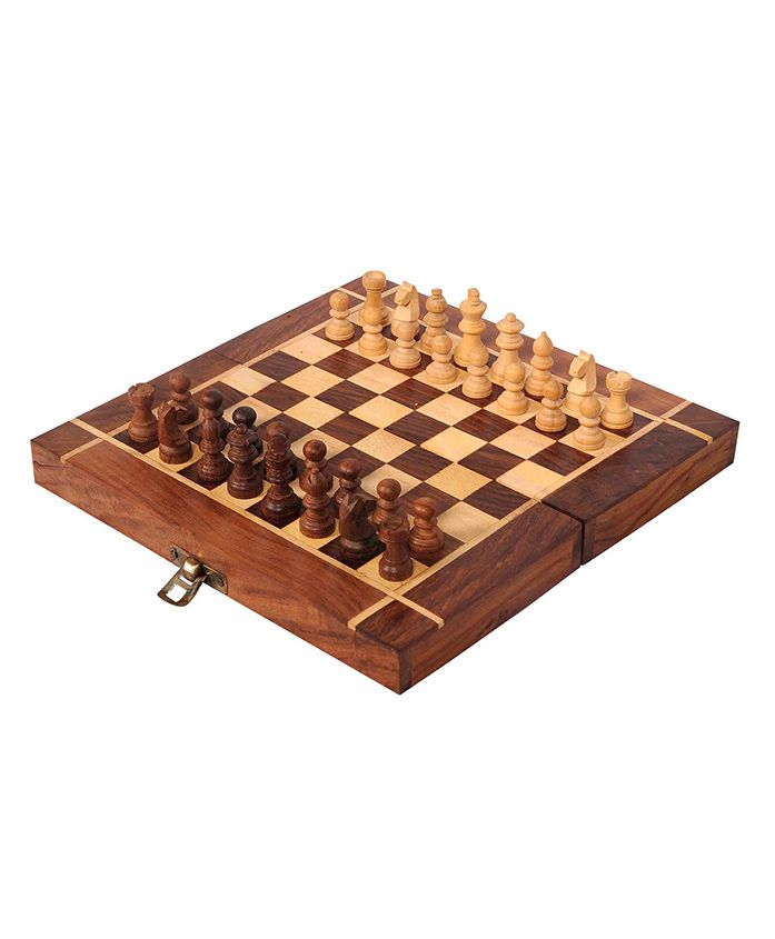 GSI Folding Wooden Chess Board - Brown