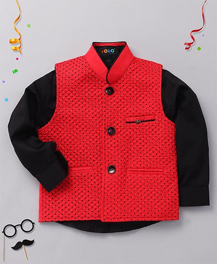 Robo Fry Party Wear Full Sleeves Shirt And Dotted Jacket - Black Red