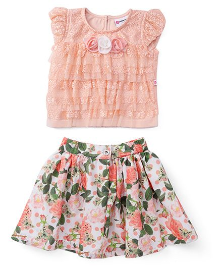 Peppermint Puff Sleeves Top And Skirt Printed - Peach