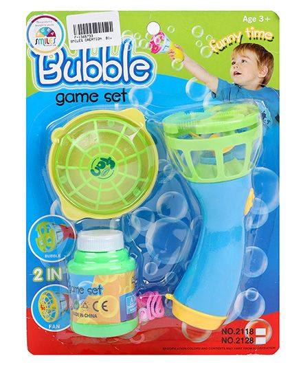 Smiles Creation Bubble Game Set And Fan Toy - Blue