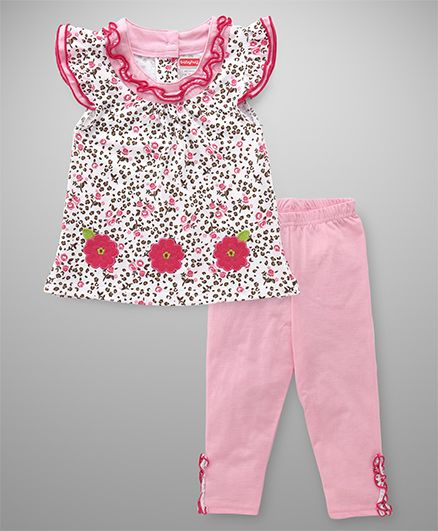 Babyhug Short Sleeves Top & Leggings Set Floral Print - Pink