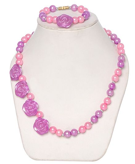 Daizy Pearl Mala With Flower And Bracelet - Lavender And Pink