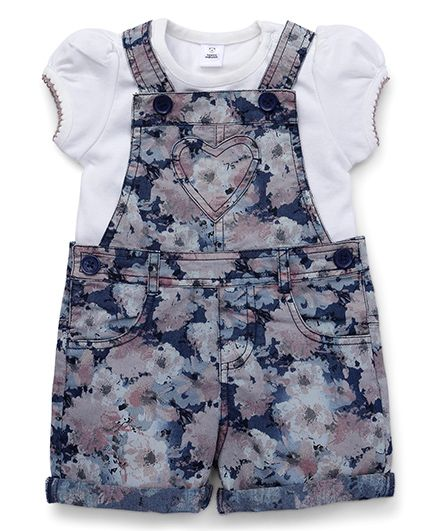 ToffyHouse Dungaree And Top Floral Print - White Blue