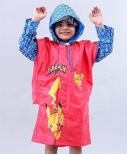 Babyhug Full Sleeves Hooded Raincoats Pokemon Pikachu - Red & Blue
