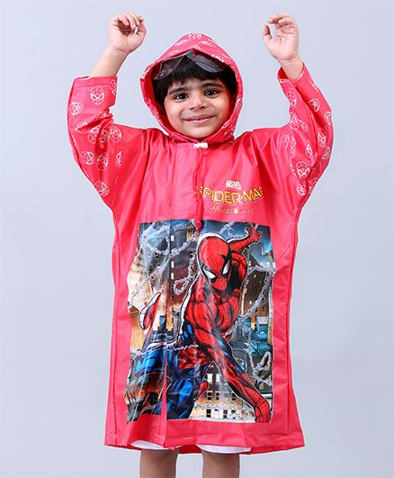 Babyhug Full Sleeves Hooded Raincoat Spider Man - Red