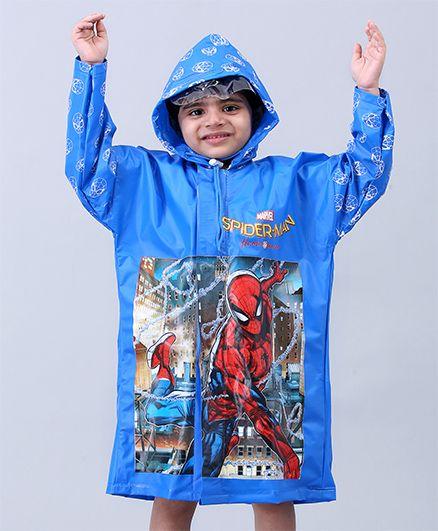 Babyhug Full Sleeves Hooded Raincoat Spider Man - Blue