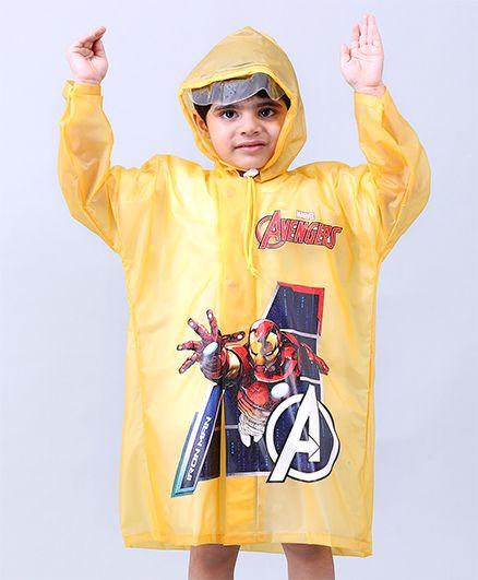 Babyhug Raincoats Iron Man Print - Yellow
