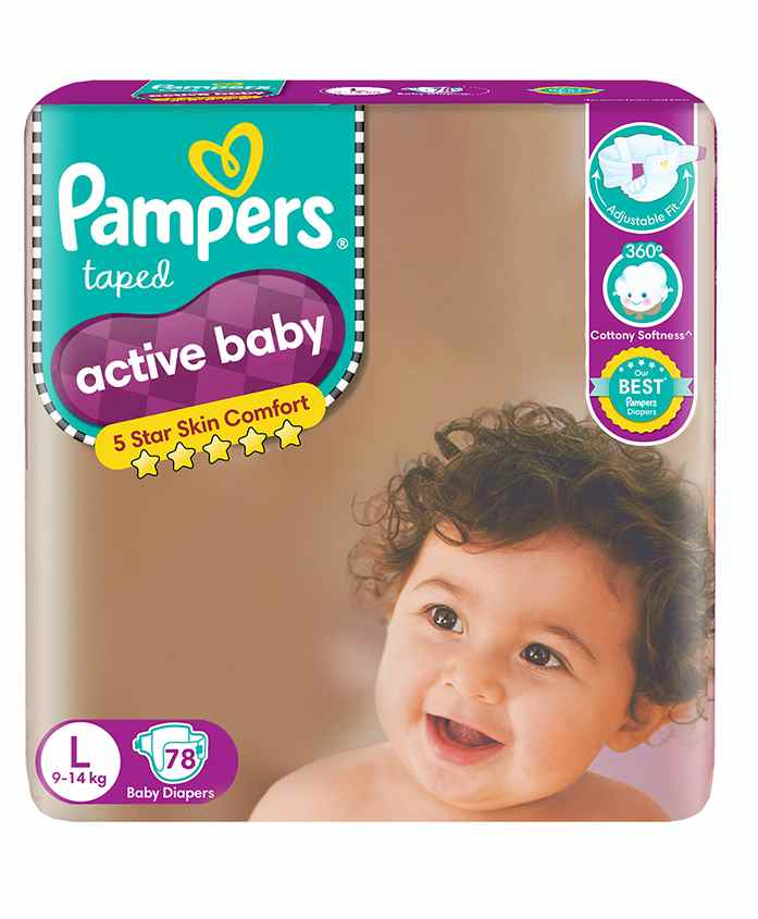 Pampers Active Baby Diapers, L 78 Pieces