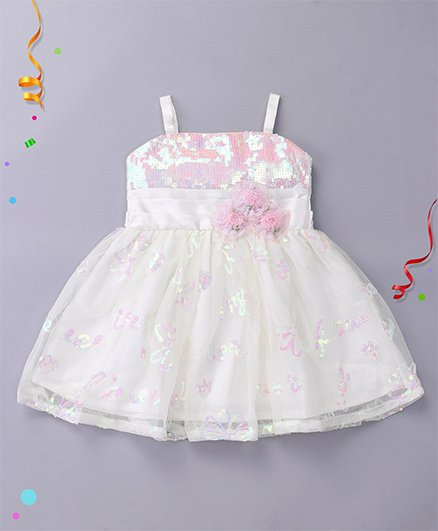 Babyhug Singlet Party Wear Frock Floral Appliques - Off White