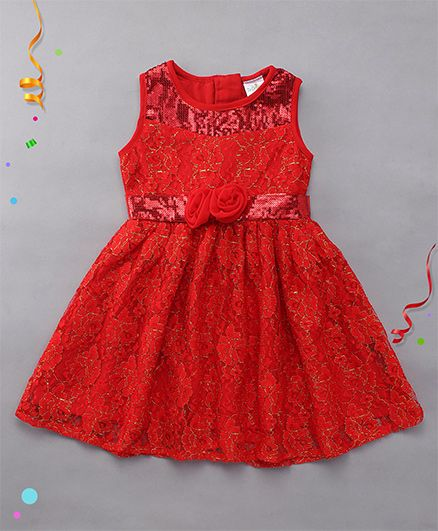 Babyhug Sleeveless Frock Floral Applique - Red