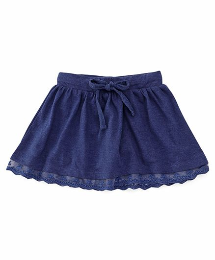 Fox Baby Skirt With Lace Hem And Drawstring - Navy